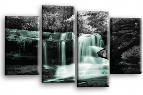 Autumn Forest Waterfall Canvas Wall Art Duck Egg Grey Picture Print